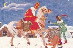 christmas sinterklass and white horse