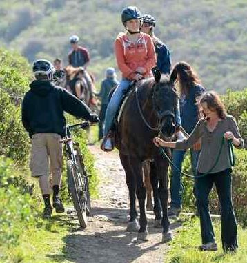 Hikers and horses on trail MARIN INDEPENDENT JOURNAL